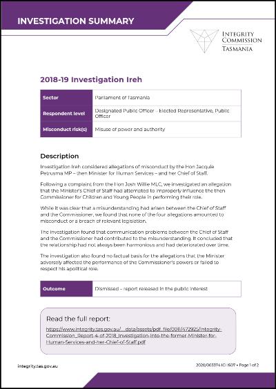 Investigation Ireh summary
