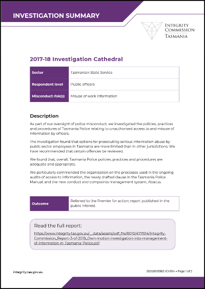 cover of inverstigation catherdal summary