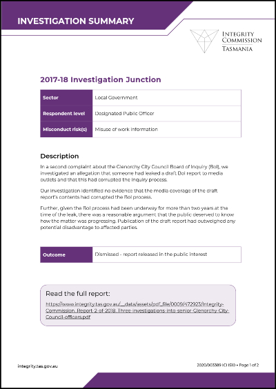 Investiagtion Junction summary