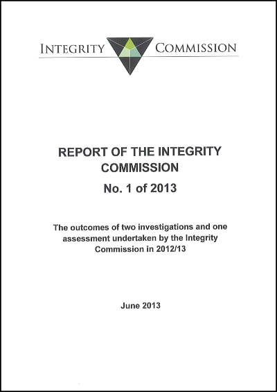 Cover of report 1 of 2013