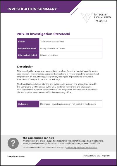 Investigation Strzelecki
