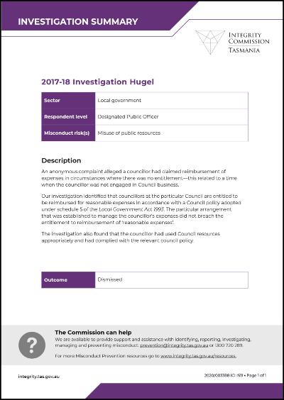 Investigation Hugel summary